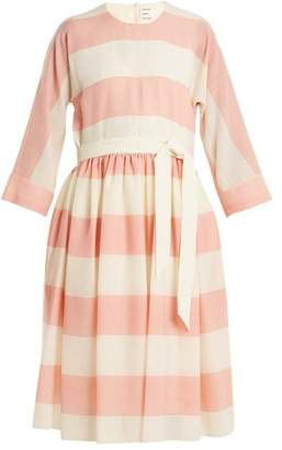 Maison Rabih Kayrouz - Etamine Dropped Waist Striped Wool Dress - Womens - Pink Stripe