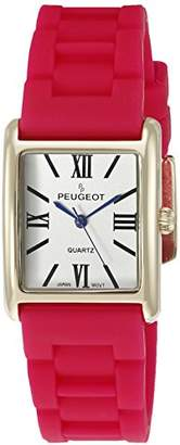 Peugeot Women's '14K Gold Plated' Quartz Metal and Rubber Dress Watch