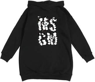 MSGM Sequin Logo Cotton Sweatshirt Dress