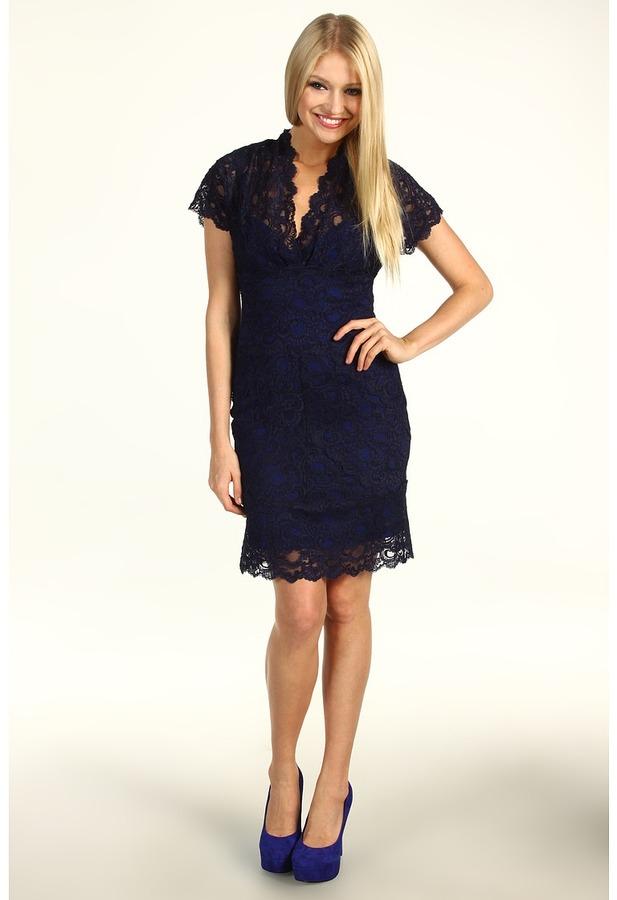 Nicole Miller Cap Sleeve V-Neck Lace Dress (Indigo) - Apparel