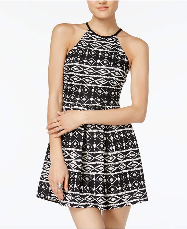 B. Darlin Juniors' Ikat-Print Fit & Flare Dress