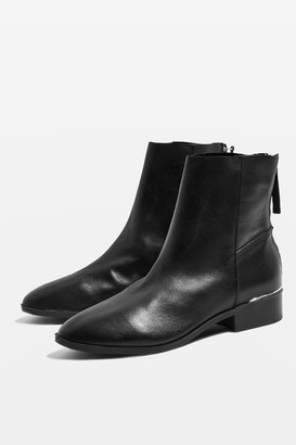 Topshop Womens Koko Unlined Flat Leather Boots - Black