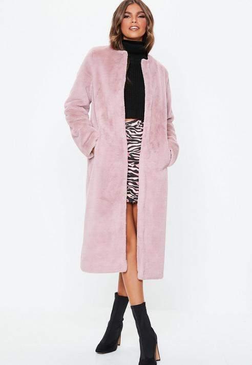 Pink Collarless Longline Faux Fur Coat, Pink
