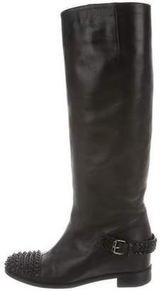 Christian Louboutin Spike-Embellished Knee-High Boots