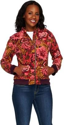 Isaac Mizrahi Live! Printed Floral Fleece Bomber Jacket