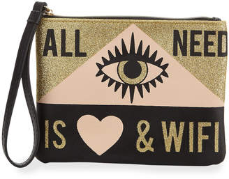 Neiman Marcus Glittery Love & WiFi Wristlet with Portable Battery
