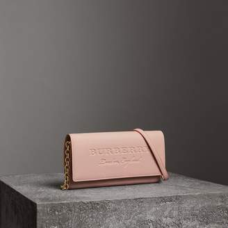 Burberry Embossed Leather Wallet with Chain