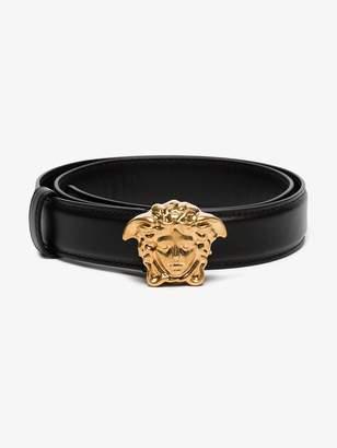 Versace black medusa leather buckle belt