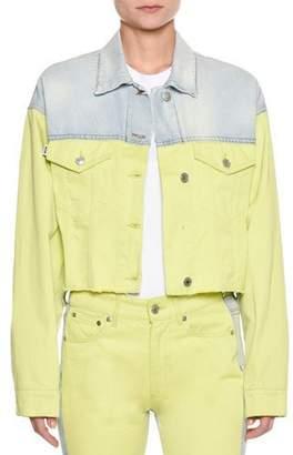 MSGM Two-Tone Button-Down Cropped Denim Jacket