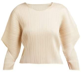 Pleats Please Issey Miyake Voluminous Sleeve Pleated Top - Womens - Ivory