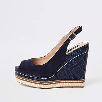 69156c652 River Island Navy suede espadrille trim wedges