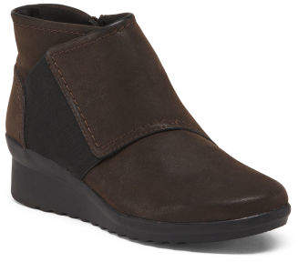 All Day Comfort Wedged Leather Booties