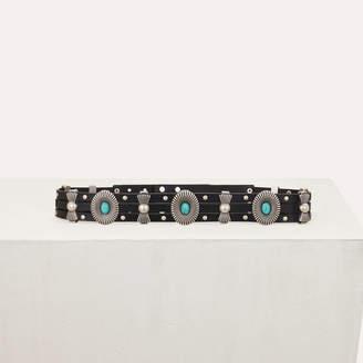 ba75bc37efd6 Maje High-waisted leather belt with studs