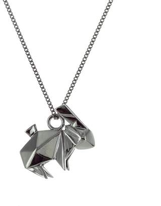 Origami Jewellery Mini Rabbit Necklace Gun Metal