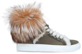 Yves Salomon Shearling Fox High-Top Sneakers