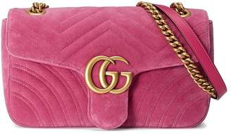 Gucci GG Marmont Chevron velvet shoulder bag