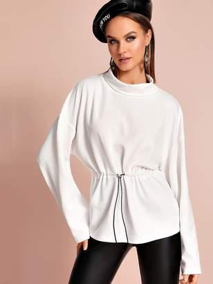 Shein Funnel Neck Drop Shoulder Drawstring Waist Sweatshirt