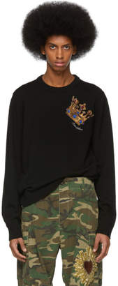 Dolce & Gabbana Black Embroidered Big Crown Sweater