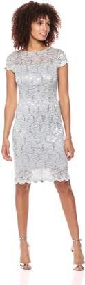 Alex Evenings Women's Short Cap Sleeve Dress with Illusion Neckline (Petite and Regular Sizes)