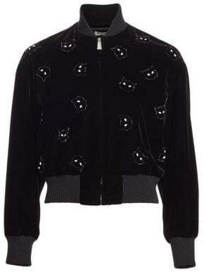 Miu Miu Velvet Cat Patch Bomber Jacket