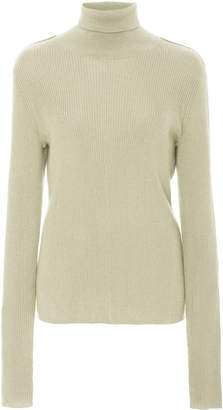 Sally LaPointe Ribbed Silk-Cashmere Turtleneck Size: L