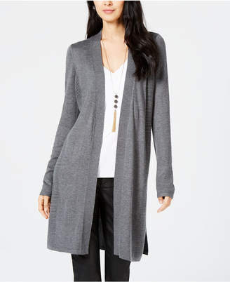 INC International Concepts I.n.c. Ribbed-Side Open-Front Cardigan
