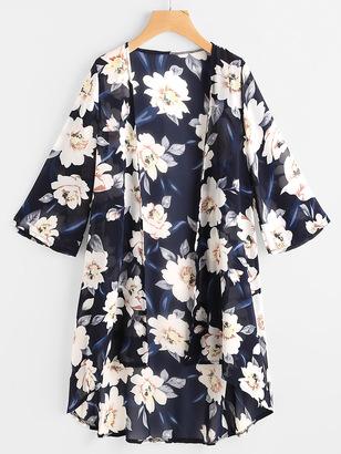 Shein Allover Floral Print Kimono