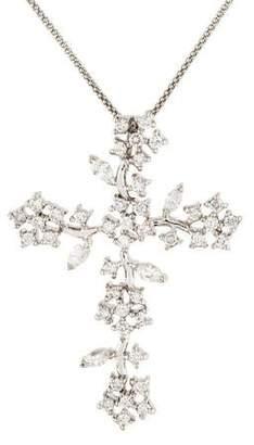 Platinum Diamond Cross Pendant Necklace