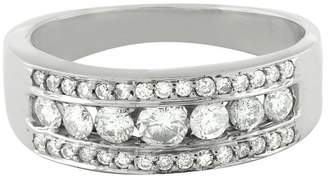 10K White Gold Channel Round Diamond Wedding Ring Band