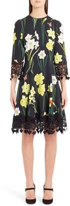 Dolce & Gabbana Daffodil Print Crochet Trim Cady Dress