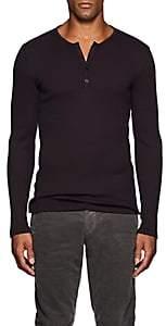 John Varvatos Men's Cotton-Blend Rib-Knit Henley - Wine