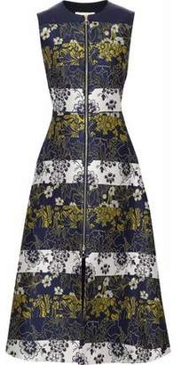 Roksanda Flared Zip-Detailed Jacquard Midi Dress