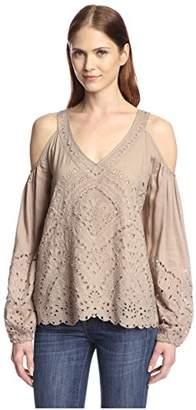 Love Sam Women's Cold-Shoulder Eyelet Top $76.59 thestylecure.com