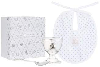 English Trousseau Egg Cup, Spoon and Bib Set (Blue)