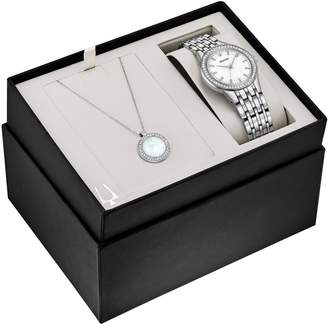 Bulova Women's Crystal Watch and Pendant Set