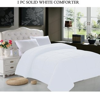 Elegant Comfort Goose Down Alternative 1pc SOLID WHITE Comforter - Available In A Few Sizes And Colors , Twin, White