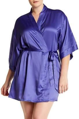 BLACK BOW 'Gem' Satin Robe (Plus Size)