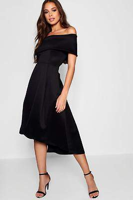 boohoo NEW Womens Tall Double Layer Midi Dress in Polyester 5% Elastane