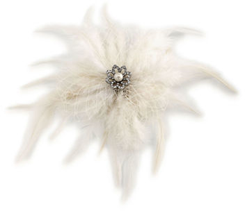 Carolee Carolee Icing On The Cake 5MM Faux Pearl, Cubic Zirconia & Feather Hair Clip