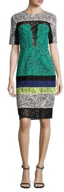 BCBGMAXAZRIA Colorblock Lace Sheath Dress $368 thestylecure.com