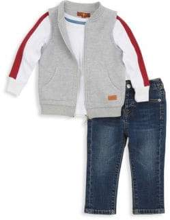 7 For All Mankind Little Boy's Three-Piece Top, Vest & Jeans Set