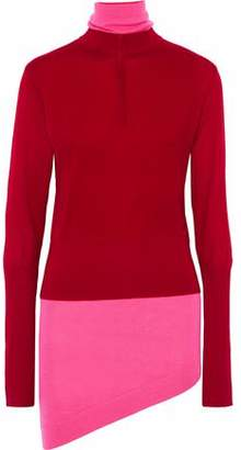 J.W.Anderson Asymmetric Layered Two-tone Wool-blend Turtleneck Sweater