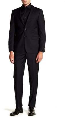 Calvin Klein Pinstripe Navy Slim Fit Two Button Notch Lapel Wool Suit