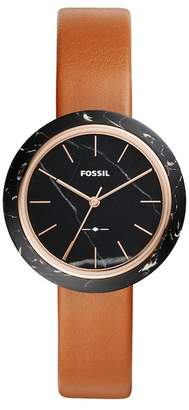 Fossil Women's Camille Luggage Leather Strap Watch, 37mm