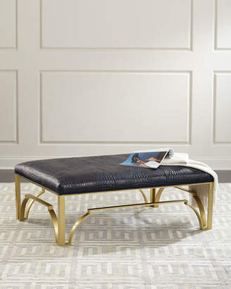Massoud Astor Leather and Brass Ottoman