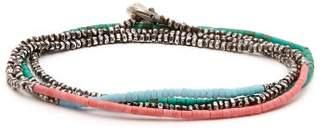 M. Cohen Horizon Bead Embellished Silver Bracelet - Mens - Blue