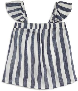 Vintage Havana Girls' Striped Flutter-Sleeve Top