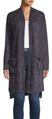 Jones New York Striped Long Knit Cardigan