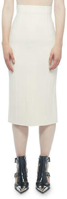 Alexander McQueen Ribbed Back-Slit Pencil Skirt