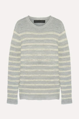 The Elder Statesman Picasso Striped Cashmere Sweater - Light gray